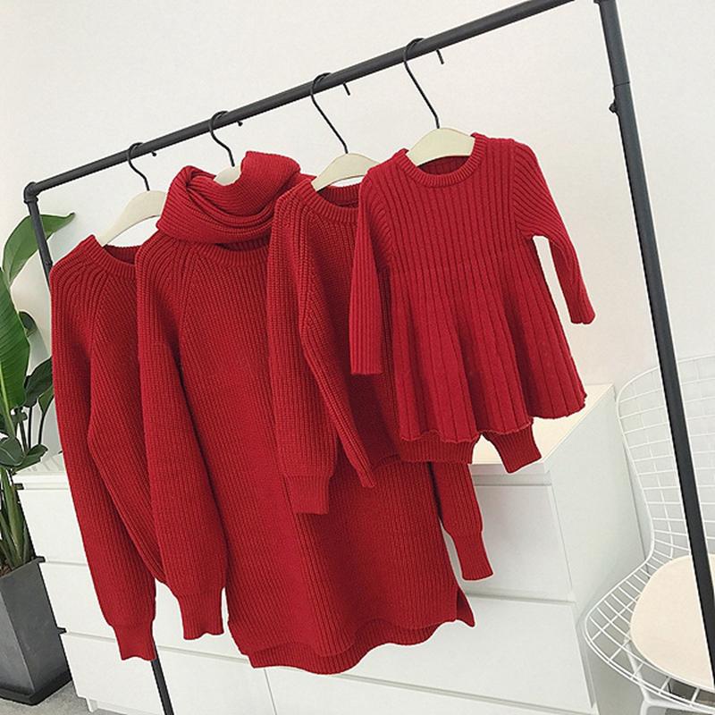 辰辰妈婴童装一家三四口家庭亲子装冬装婴儿连衣裙过年红色毛衣潮