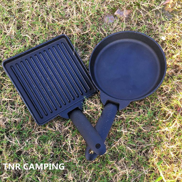 卡式爐烤肉盤鑄鐵煎盤燒烤盤家用韓式戶外不粘方形圓形小烤盤套裝