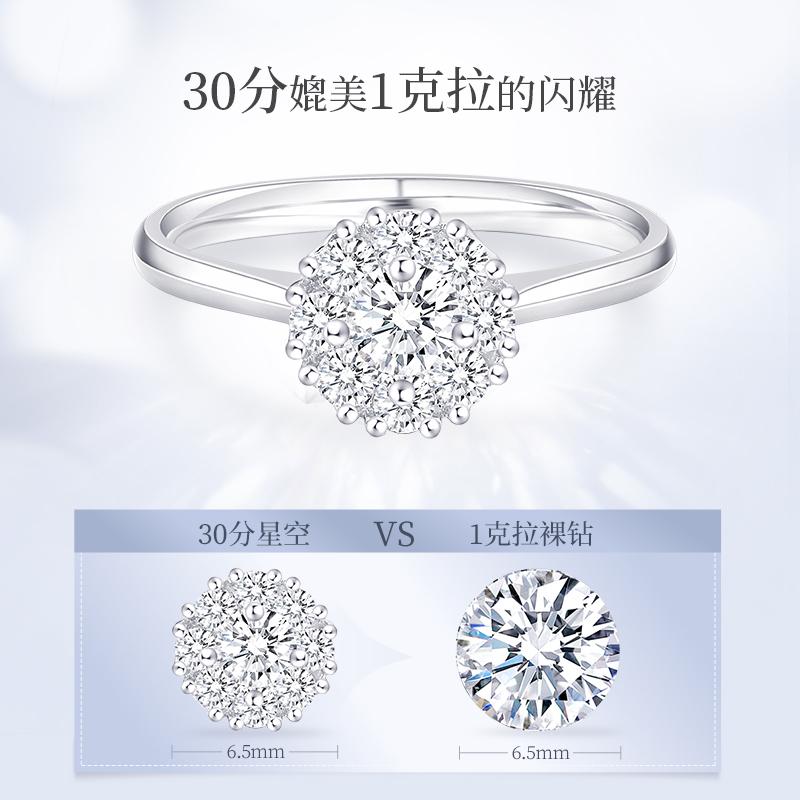 1克拉钻戒女正品40分50分求婚群镶钻石戒指18K金婚戒铂金钻戒正品