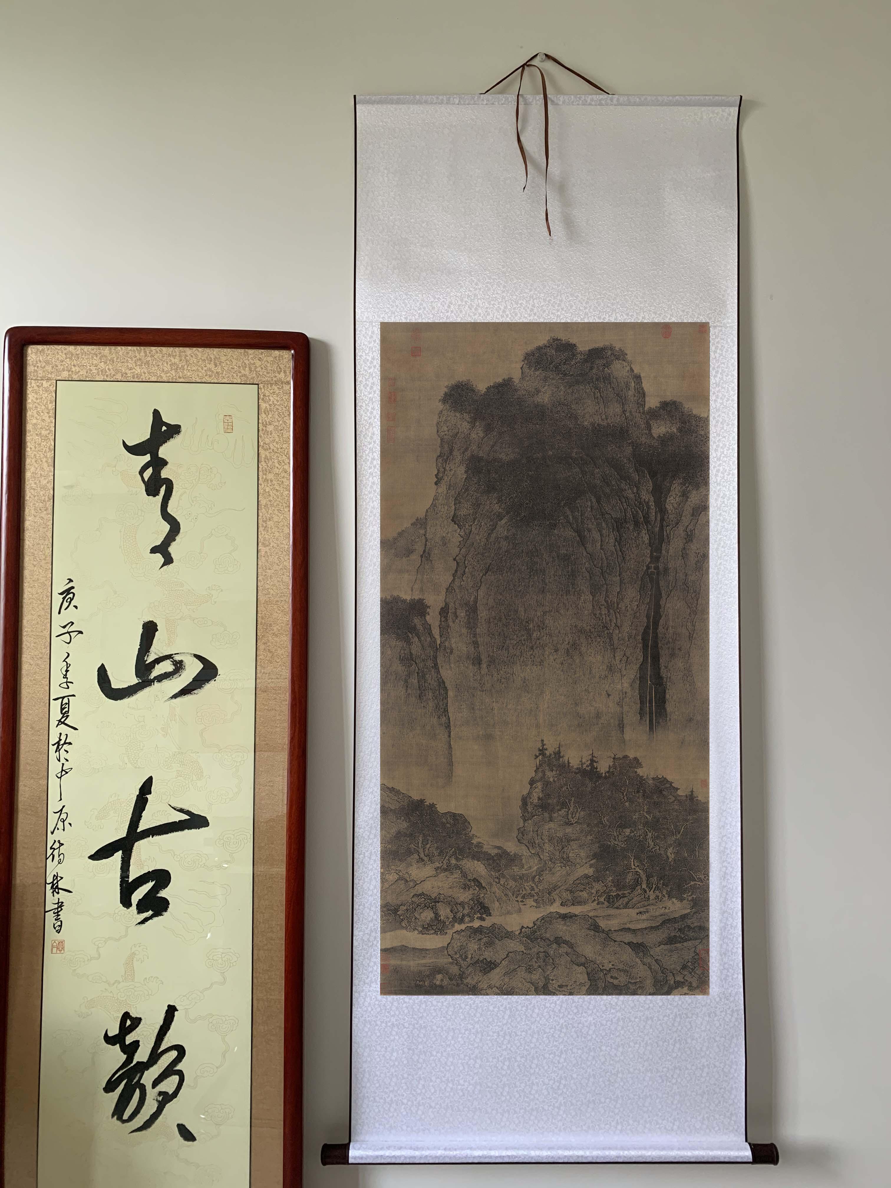 包邮北宋范宽 溪山行旅图中国高山流水画绢本临摹写意山水画微喷