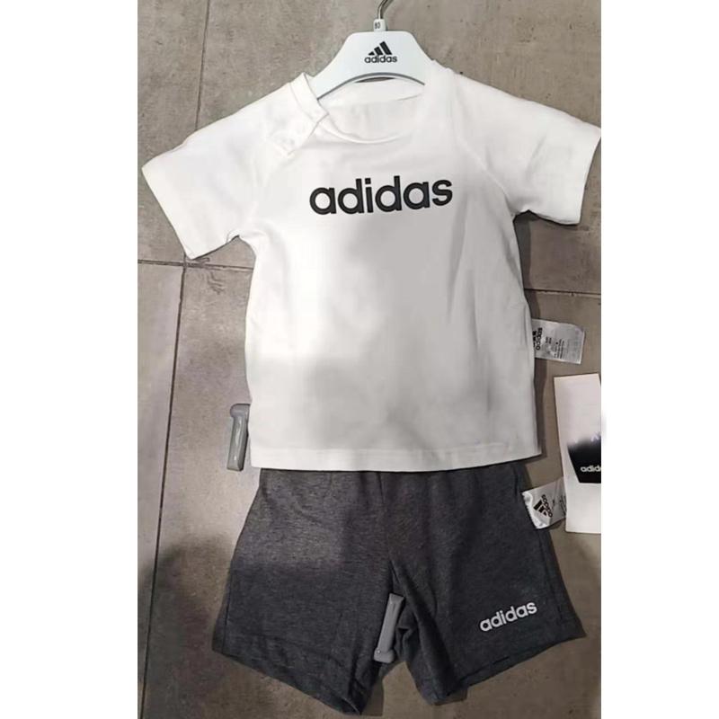 阿迪达斯男女童套装2020夏季新款小童短袖运动休闲服短裤DX2454