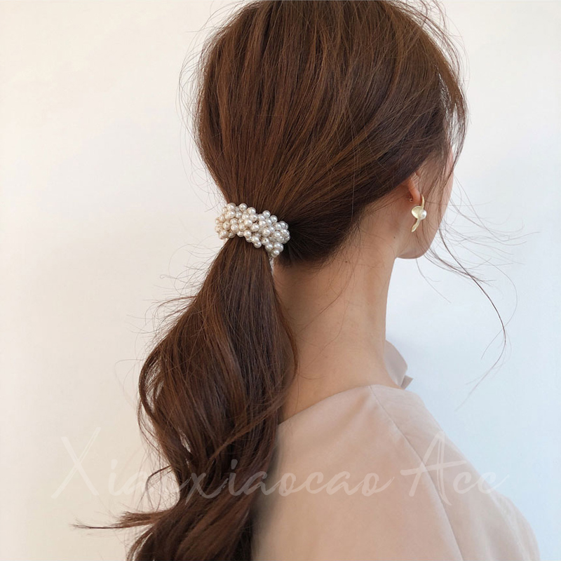 韩国进口 串珠珍珠发圈 发绳扎头发扎马尾皮筋