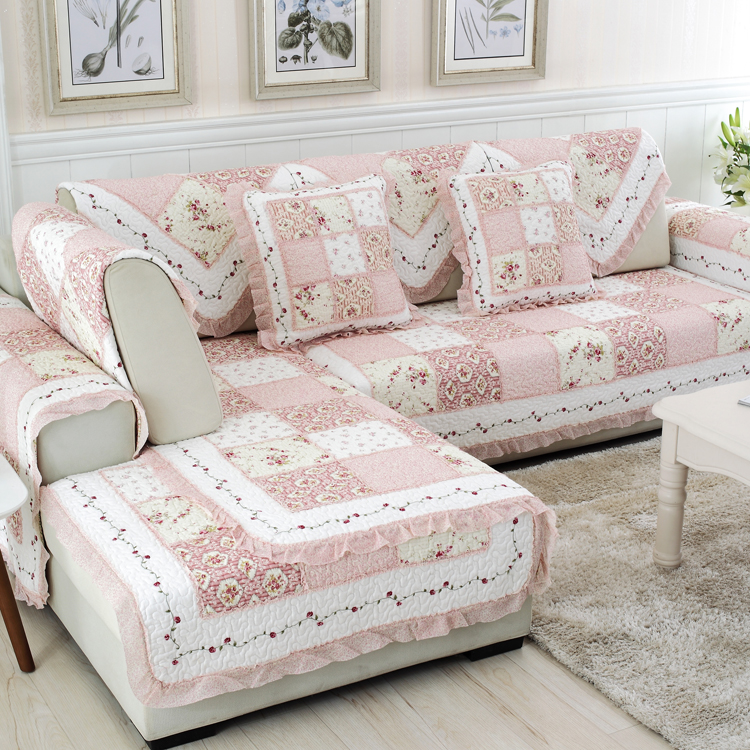 韓式田園粉色拼布純棉沙發墊絎縫坐墊全棉沙發巾四季防滑墊飄窗墊