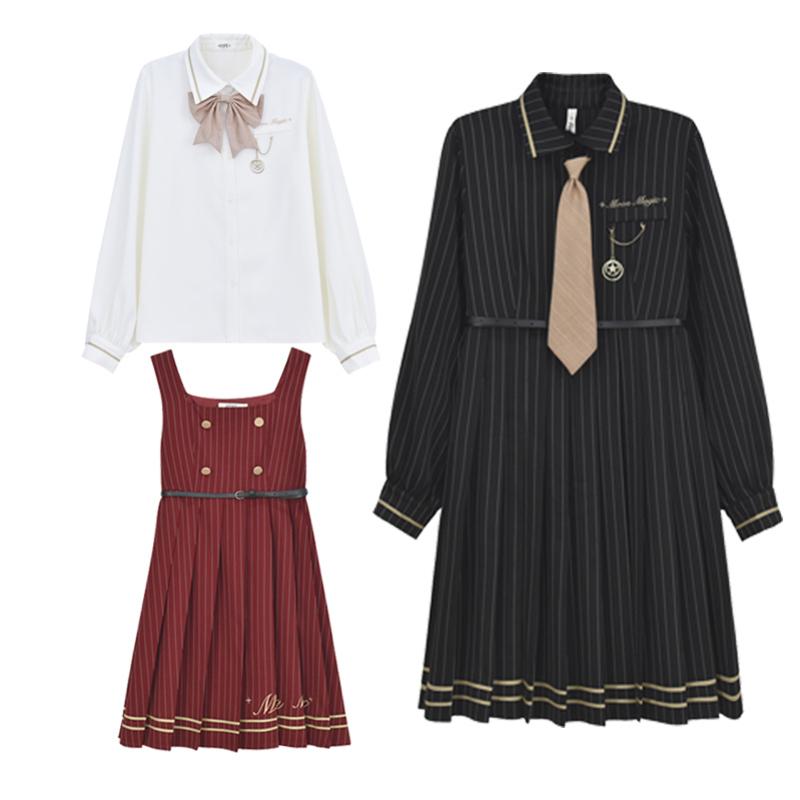 原创森女部落polo领连衣裙收腰显瘦气质闺蜜套装姐妹衣服2019新款