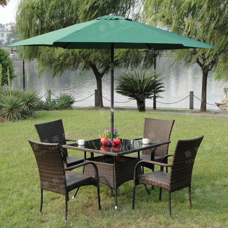 别墅后院仿藤户外休闲桌椅中柱伞庭院阳台铁艺钢化玻璃餐桌椅