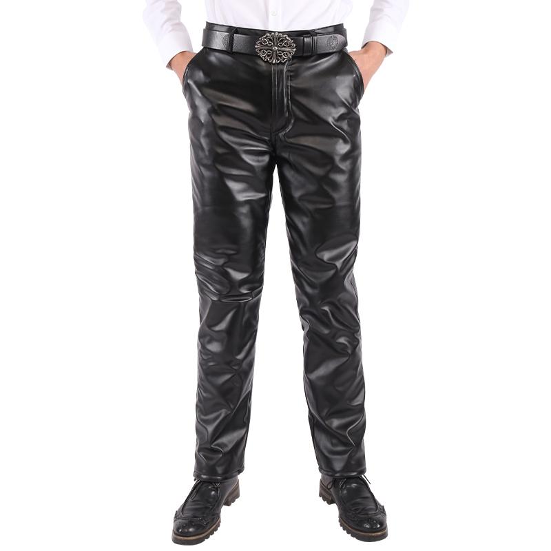 皮裤男士加绒加厚摩托车机车中老年冬季宽松防水休闲保暖大码皮裤