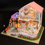 Small handmade diy house mini house model assembled creative arts dollhouse large villa Princess Room