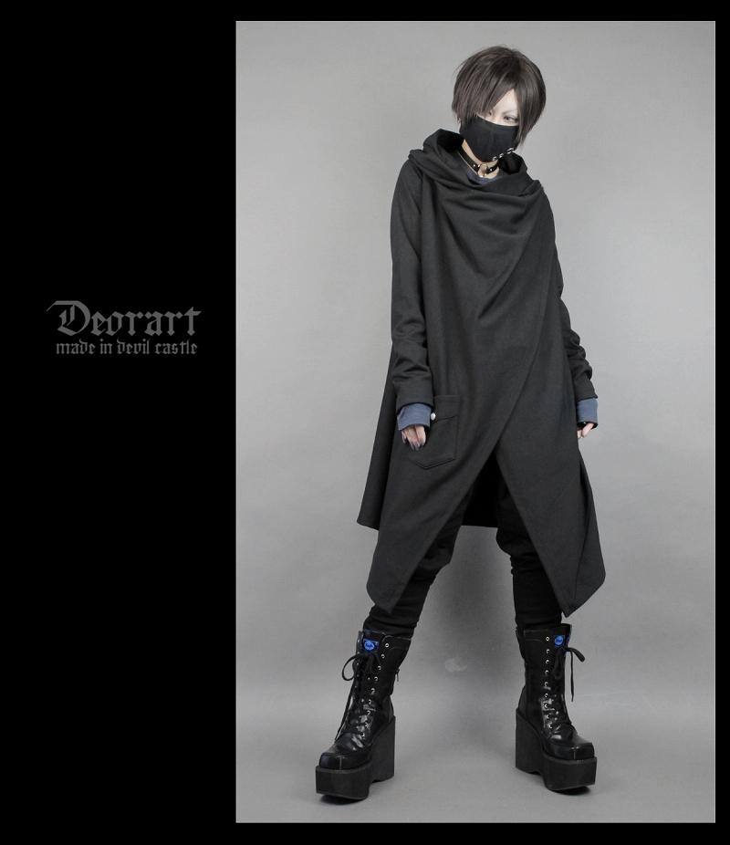 不规则可变形中长风衣披风男女中姓 3way 原宿基佬暗黑 deorart 日本