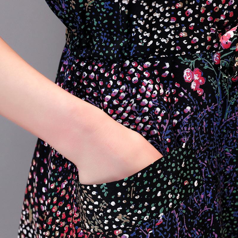 岁中年妈妈装短袖大码中长款花裙子夏 40  中老年女装绵绸连衣裙 50