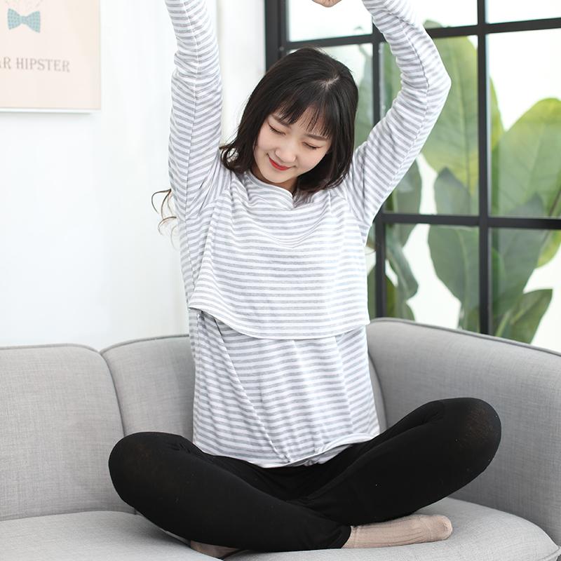 2018春秋新款纯棉长袖条纹哺乳上衣 面茶家产妇哺乳期外出喂奶衣