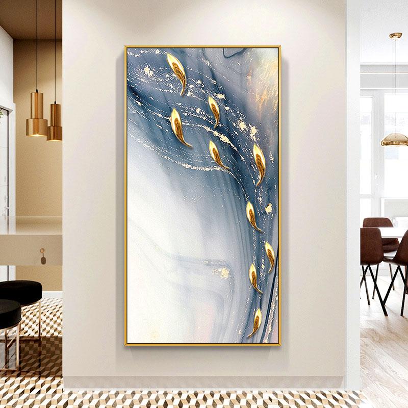 实物九鱼图 风水招财玄关装饰画 竖版过道走廊大气墙壁画客厅挂画