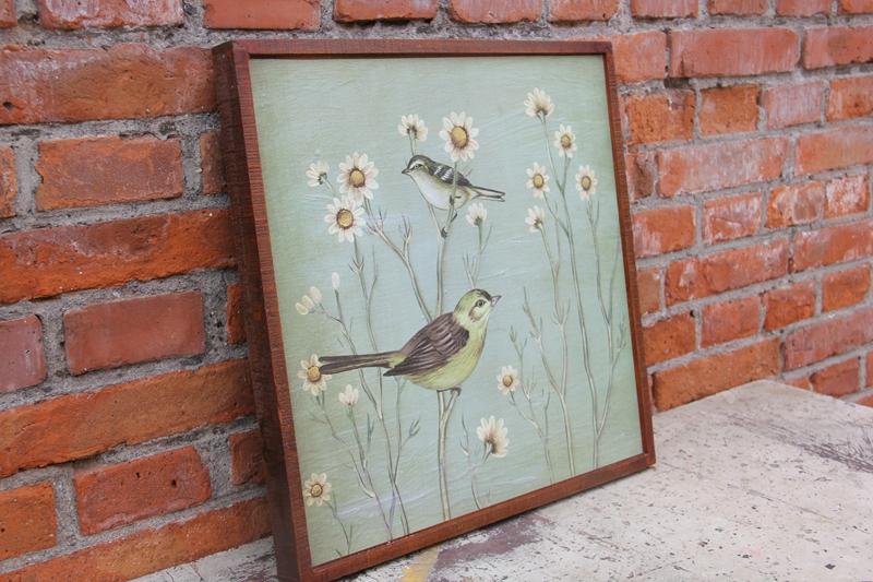 装饰画版画实木框中式复古花鸟壁挂电表箱挡板画家居木板饰品