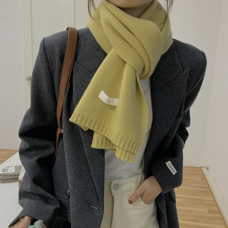feiding非町2020秋冬新款羊毛围巾ins纯色温柔韩版chic针织围脖女