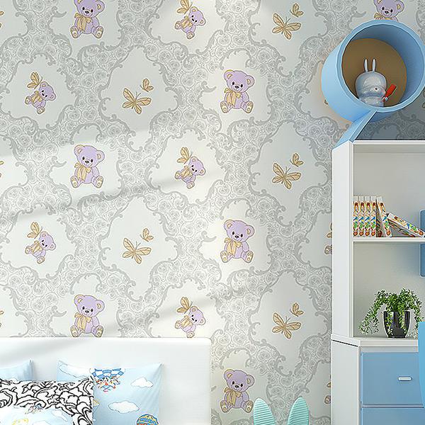浮雕加厚无纺布墙纸卡通小熊男孩女孩卧室儿童房温馨背景墙壁纸 4D