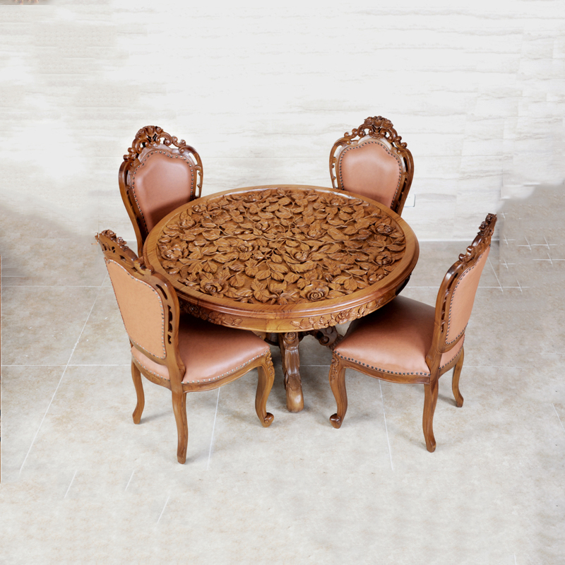 Emperor Pomelo Roses Full Teak Carved Golden Wood Dining Table Round