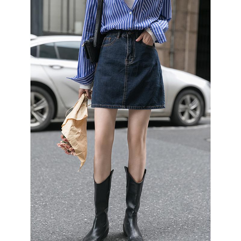 觅定蓝色牛仔裙a字短裙半身裙女夏季薄款高腰小个子包臀裙子夏天