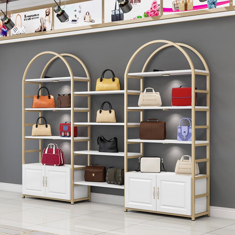 化妆品展示柜美容院简约现代金色美甲油护肤品货架展示架陈列柜小