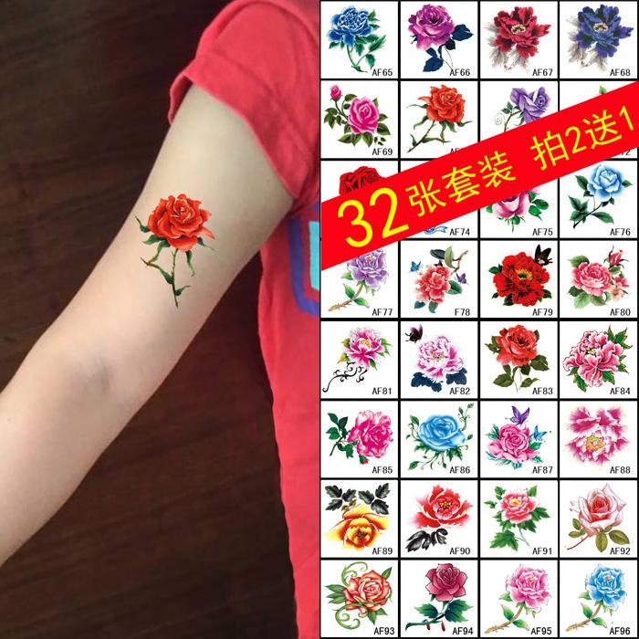 纹身贴防水女仿真韩国花臂仿真性感持久玫瑰花朵胸部小清新遮疤痕
