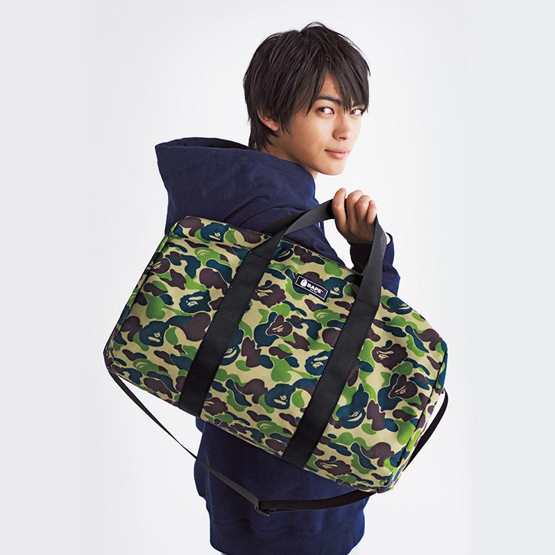 ●日本杂志附录 潮牌新款迷彩可折叠有内衬圆桶旅行包运