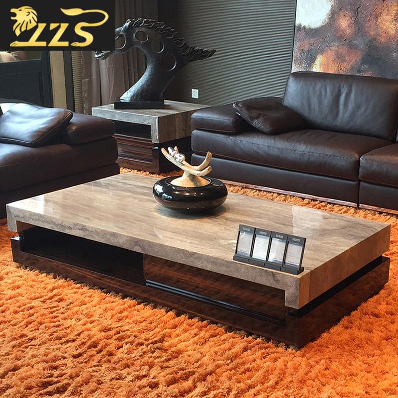 天然灰洞石大理石茶几電視櫃組合簡約現代傢俱歐式小戶型石茶桌套