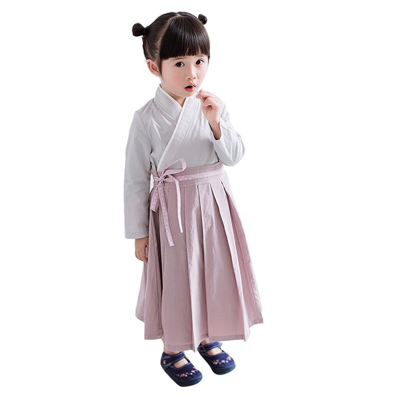 女童汉服19春中国风复古交领系腰带女童宝宝襦裙长款连衣裙表演服