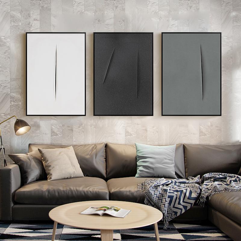 黑白抽象裝飾畫北歐客廳畫現代簡約背景牆畫工業風極簡掛畫三聯畫