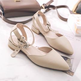 韩版低跟罗马凉鞋女夏包头平底尖头鞋粗跟百搭仙女风学生皮带扣潮