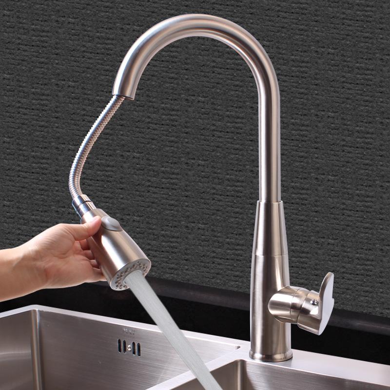 德国厨房冷热水龙头 万向旋转洗菜盆龙头 伸缩双温抽拉式水槽龙头