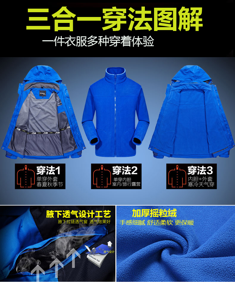 大碼沖鋒衣女三合一兩件套冬季加絨加厚可拆卸西藏登山服男潮牌