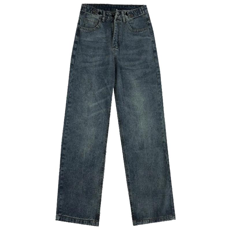 斤学生胖妹妹长裤子 200 宽松高腰 mm 直筒大码牛仔裤女胖 坠感阔腿裤