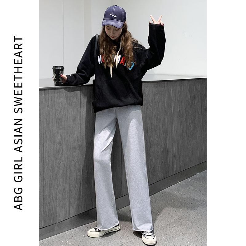 灰色运动裤女装宽松直筒显瘦百搭阔腿休闲秋冬季新品外穿加绒卫裤