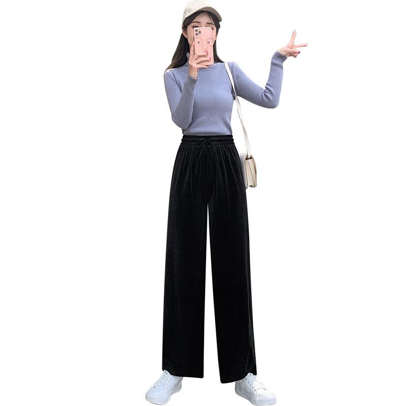 灯芯绒阔腿裤女裤春秋冬季高腰垂感显瘦黑色宽松直筒拖地金丝绒裤