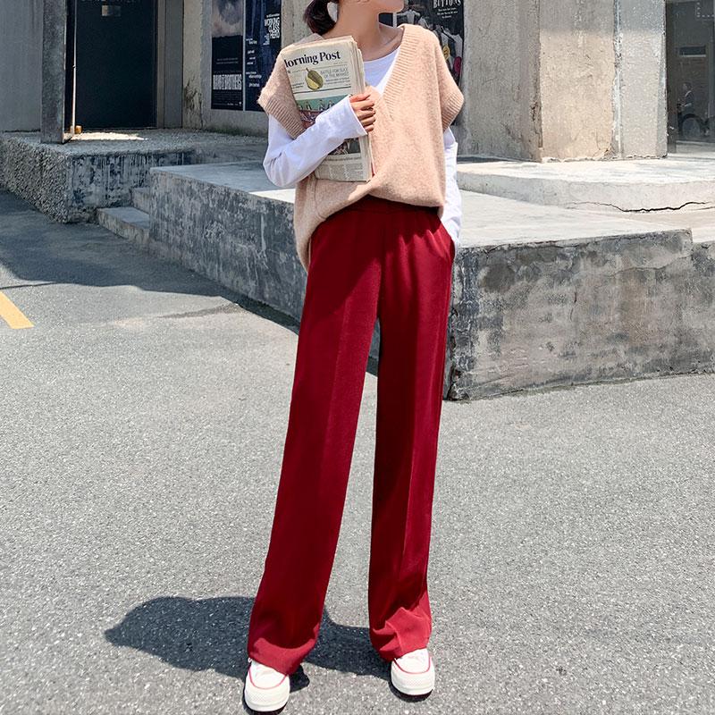阔腿裤女秋冬季百搭加厚加绒宽松直筒拖地显瘦黑色不打皱西装长裤