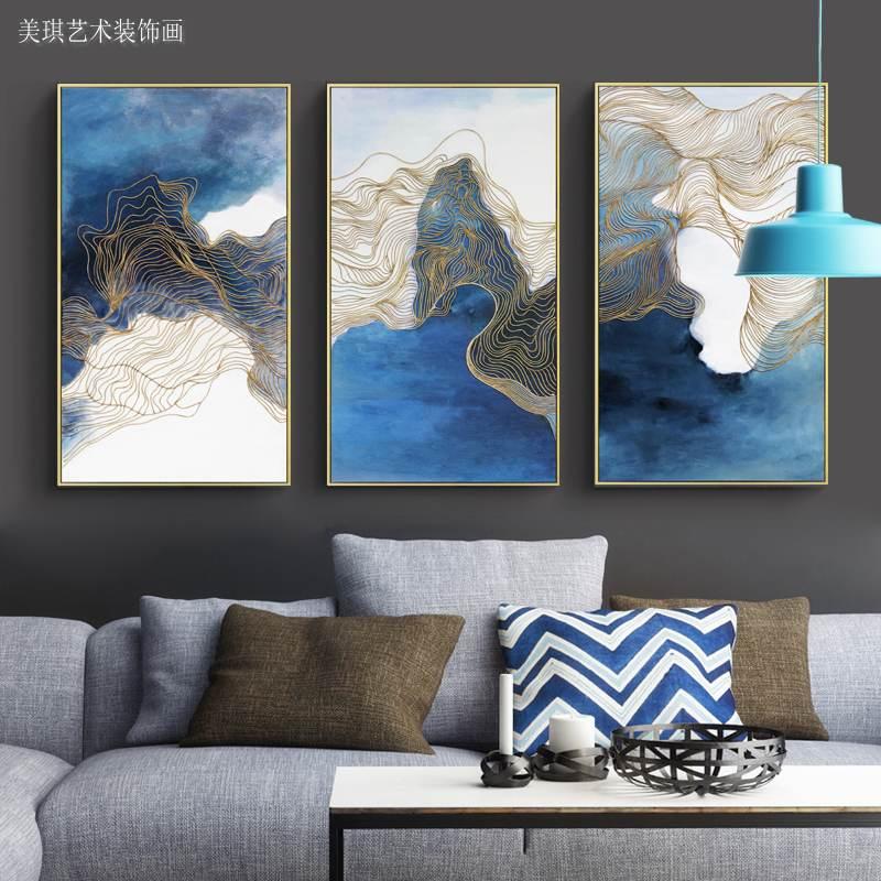 金絲手繪油畫抽象后現代組合壁畫進門玄關畫客廳沙發背景墻裝飾畫