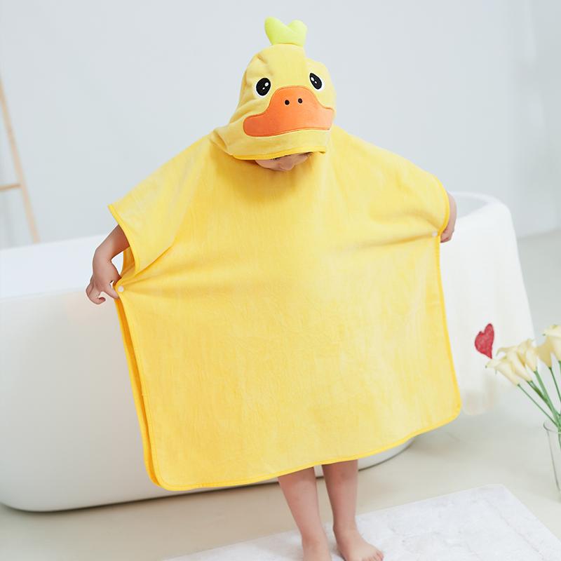 儿童卡通浴袍海边必备用品换衣斗篷宝宝游泳浴巾速干吸水浴袍