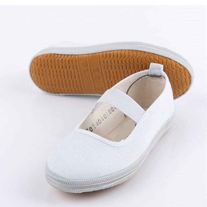 儿童舞蹈鞋六一元旦男女儿童小白鞋武术鞋白网鞋白布鞋儿童帆布鞋