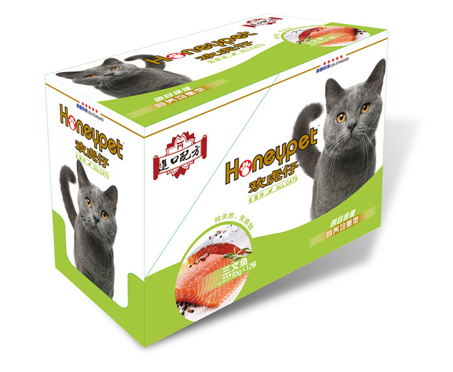 Huan Hu Zai Miao fresh salmon sea fish cat snack meat package wet cat food canned into 12 bags of wet cat food