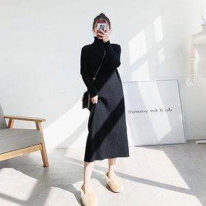 存白半高领针织连衣裙女秋冬黑色毛衣裙过膝长裙中长款宽松打底裙