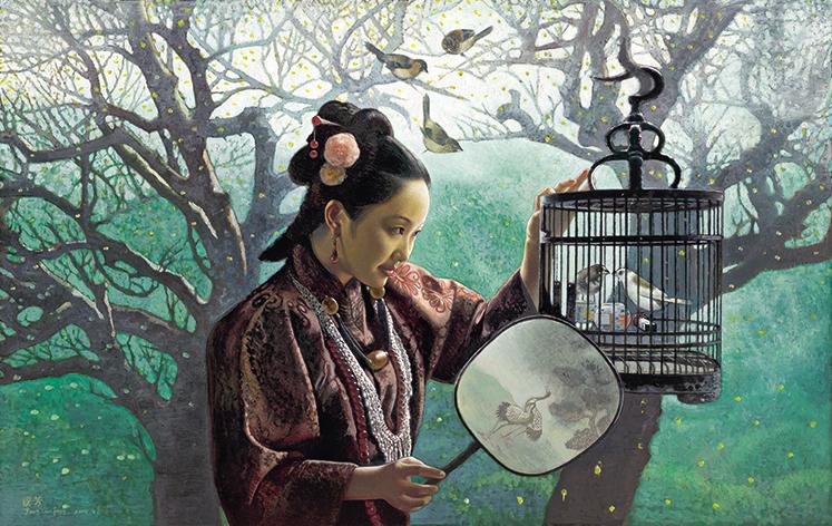 世界名画姜国芳油画中国画临摹设计素材装饰画素材总共有8张2.57G