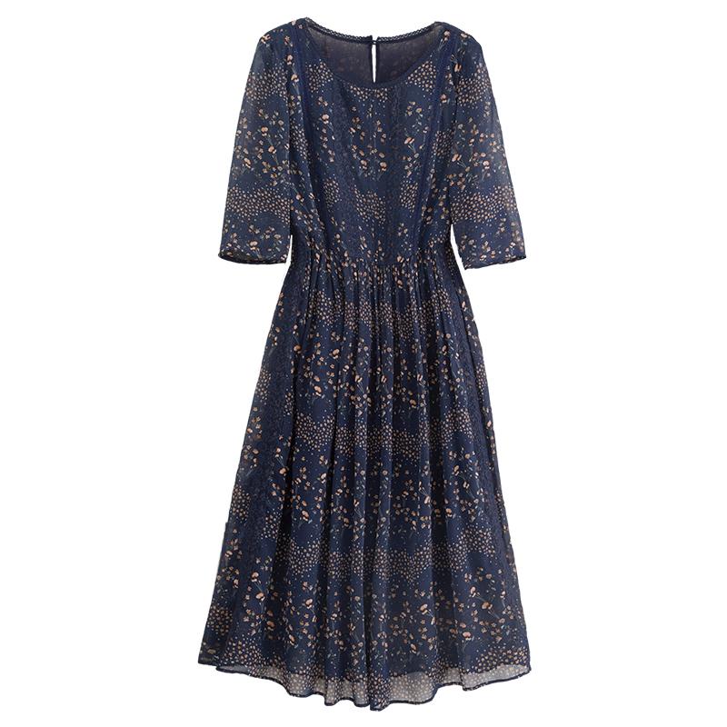 亦朵真丝连衣裙桑蚕丝大牌2021年春秋新款女装大码高端碎花裙气质主图
