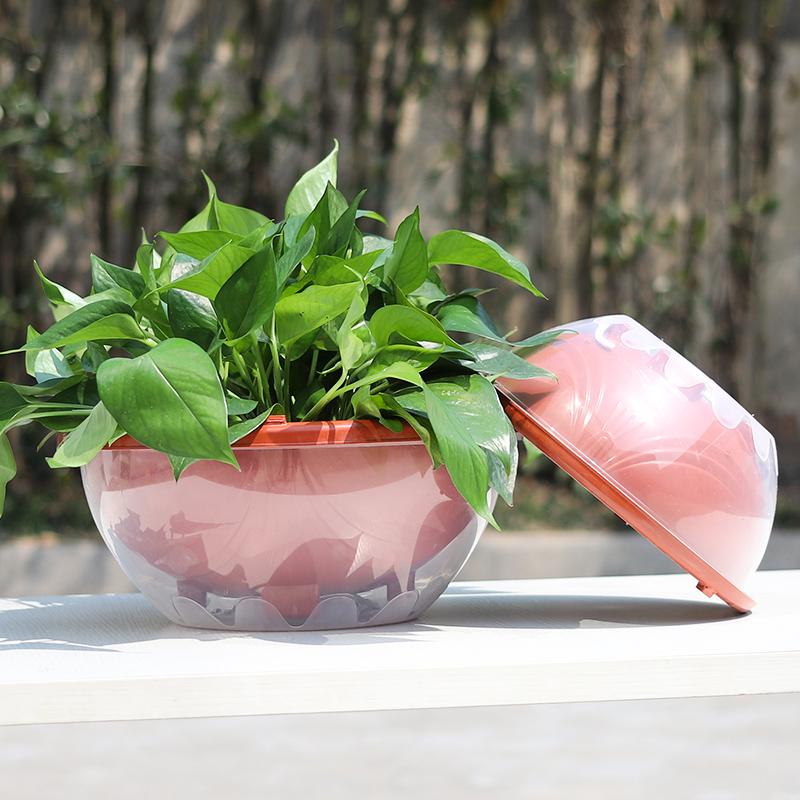 绿萝花盆储水盆双层树脂套盆塑料吊兰盆圆形自吸水懒人花