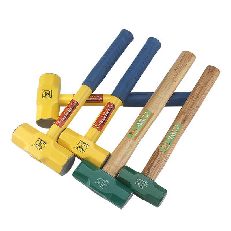 八角锤方头石工锤铁锤木柄钢管柄3磅4磅6磅8P手锤八角锤锤子锤头