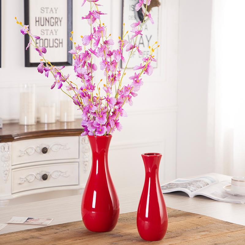 中國紅色花瓶簡約現代陶瓷擺件新婚喜慶家居客廳電視柜插花器 30cm