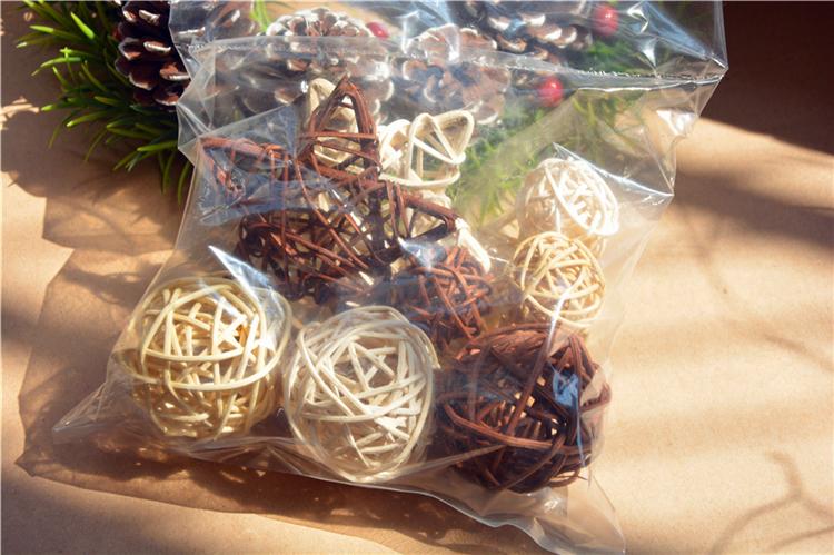 原木三色藤球裝飾手工編織藤編裝飾森系復古干花櫥窗攝影道具擺件