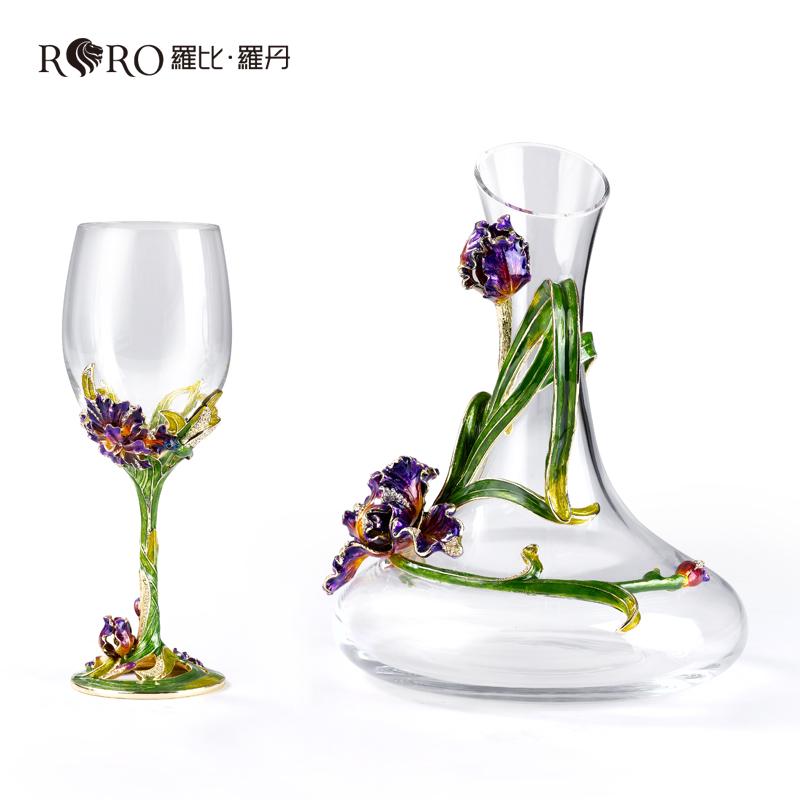 罗比罗丹幸福鸢尾水晶玻璃高脚红酒杯醒酒具套装盛酒器创意摆件