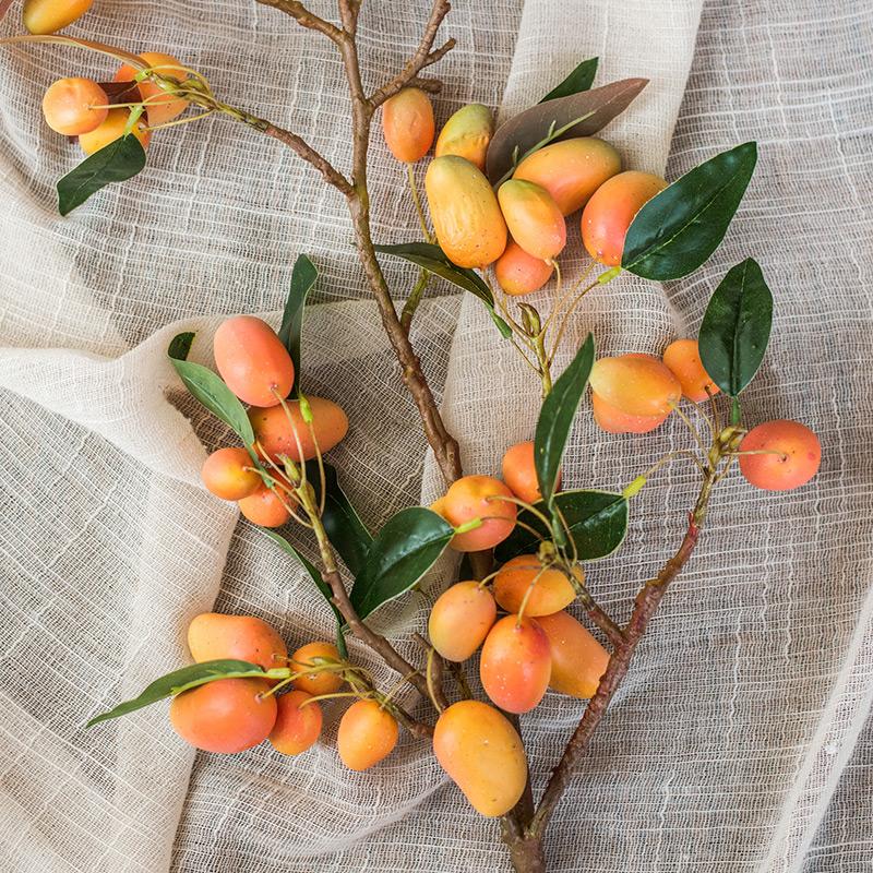 【掬涵】模擬芒果 果樹枝 希望果實 家居軟裝飾擺件插花桌面地面