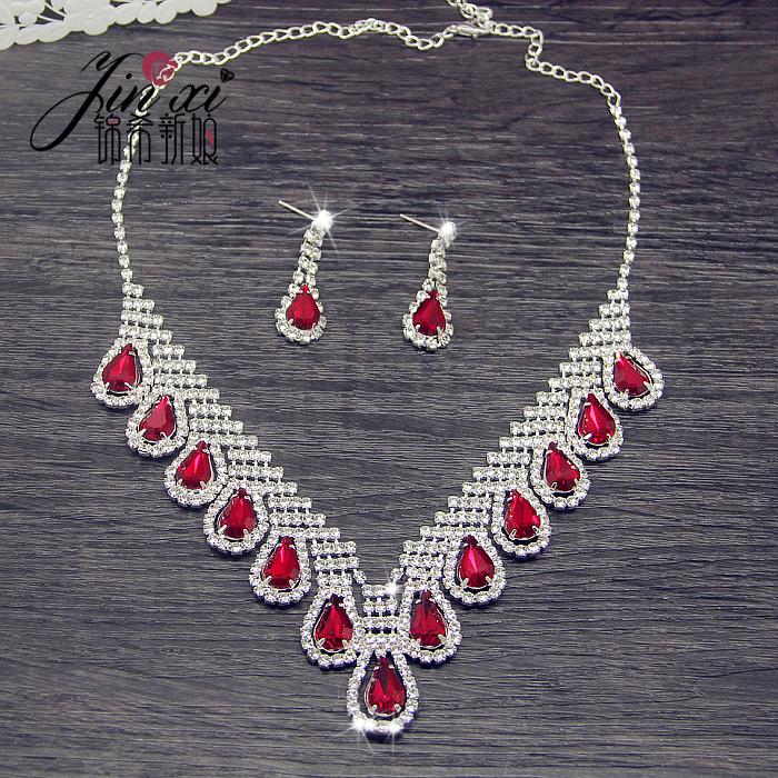新娘二件套链韩式红色水晶项链耳环套装婚纱旗袍古装配饰结婚饰品