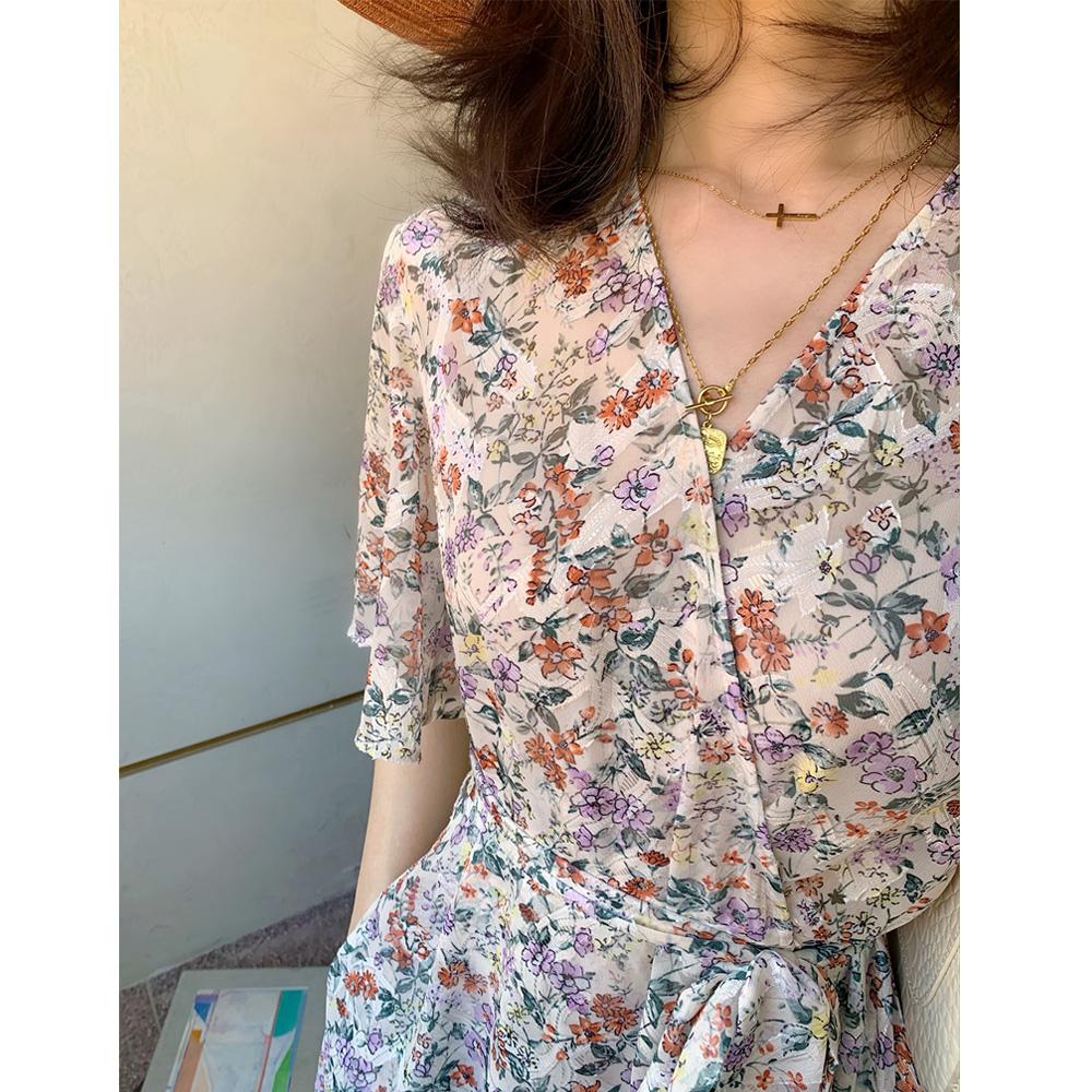 (必入太美!日本进口开版)FANLE Studios夏季薄款长款碎花连衣裙