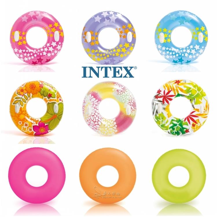 正品INTEX充氣游泳圈成人加厚大人加大浮圈大號腋下男女救生送泵