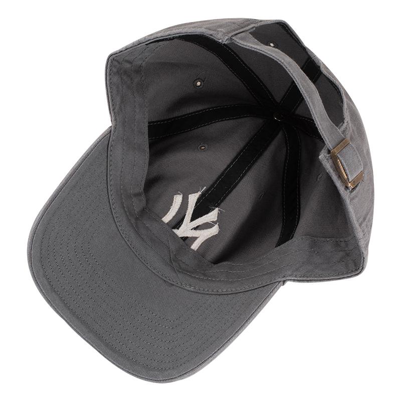 47深灰色mlb棒球帽女洋基队NY刺绣可调节嘻哈鸭舌帽学生弯檐帽男